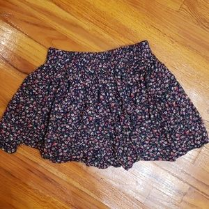 Navy blue floral flowy mini skirt